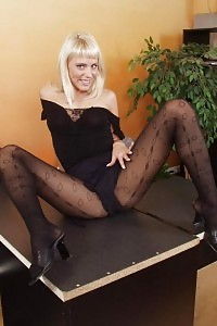 Sexy Brunette Clerk In Black Tights