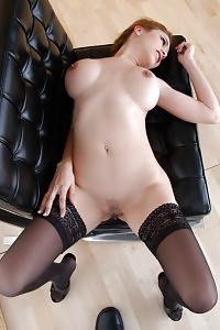 Stockinged Black-haired Getting Cute Of Her Taste