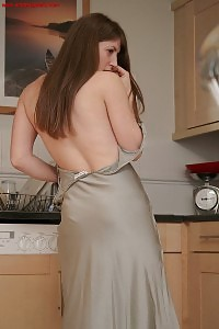 Elena Poses In The Kitchen Demonstrating Her Impressing White Panties