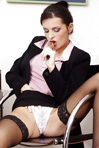 Delectable Brunette Having Toy Mania In Her Office