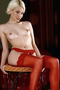 Dazzling And Filthy Blonde In Appealing Red Stockings Stripping Appealingly